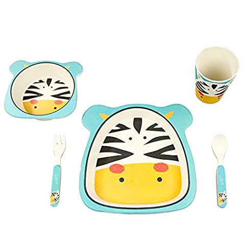 BambooFox Children's Tableware Set / Dishes and Cutlery Set - 100 % Organic Bamboo / Environmentally Friendly / Colourful Motif zebra