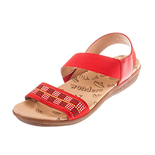 Wonders, Sandali donna blank, rosso (Red), 37 EU