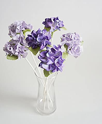 Plawanature Set of 6 Two Tone Violet Hydrangea Mulberry Paper Flower with Reed Diffuser for Home Fragrance Aroma