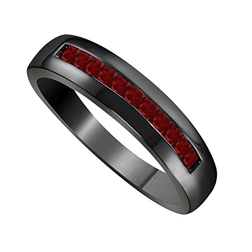 RS Jewels 925 Sterling Silver 18K Black Rhodium Plated 6MM Channal Set 0.50ct Princess Cut Red Ruby Bridal Anniversary Wedding Band Ring Men's Jewelry