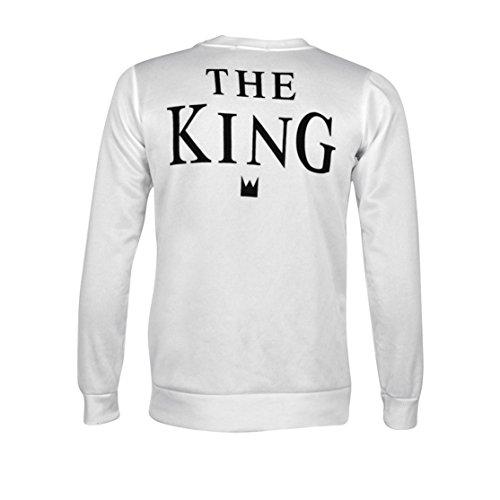 *Bekleidung Loveso Pullover Herbst Winter Valentine Couple Lover Kleidung The King and His Queen Weiß Baumwollmischung Sweatshirt Tops Bluse Streetwear T-shirt ((Größe):38 (L), Weiß A (Herren))*