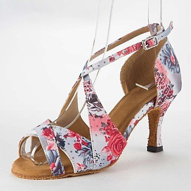 Silence @ latine Sandales pour femme en satin Stiletto Talon Boucle Chaussures de danse Rose