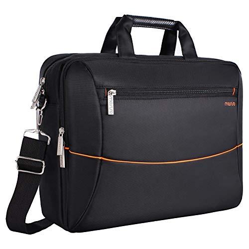 MOSISO Polyester Laptoptasche Messenger (bis zu 15,6 Zoll), Unisex Aktentasche Notebooktasche Arbeit Business Reise Büro Doppelschicht Handtasche mit Rückengurt für Trolly Fall, Schwarz & Orange -
