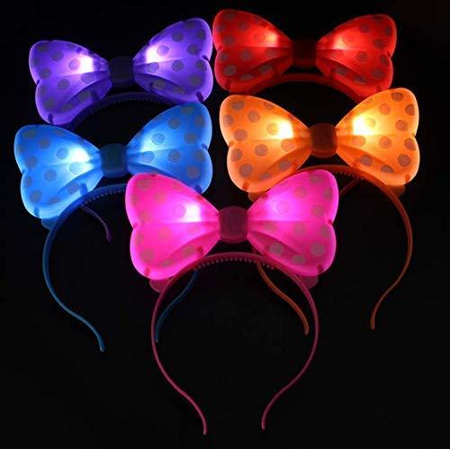 Gwill 5pcs leuchten LED Flasing Ohren und Polka Dot Bögen Stirnbänder - Farbe zufällig (Leuchten Dot Polka)
