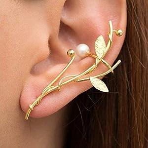 Gold Zweig Ohr Manschette mit perle aus sterling silber, Hochzeitsohrring, griechisch handgemachter Schmuck von…