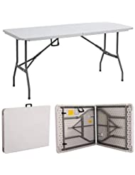 Gr8 Garden New Compact Foldable 6ft Heavy Duty Folding Catering Camping Trestle Picnic Garden Patio BBQ Party Table, White