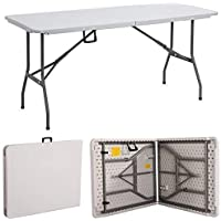 Gr8 Garden, White, New Compact Foldable 6ft Heavy Duty Folding Catering Camping Trestle Picnic Garden Patio Bbq Party Table