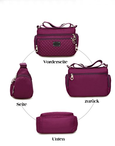 Viola donne le casuale Borsa tasca impermeabile Honeymall a Viola multi tracolla vgwHfnnqx