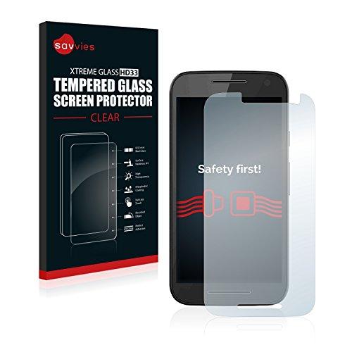 Savvies Panzerglas kompatibel mit Motorola Moto G3 / G 3. Generation - Echtglas Schutzfolie 9H