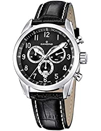 4f77996bd0e4 Candino C4408-4 - Reloj analógico de caballero de cuarzo con correa de piel  negra