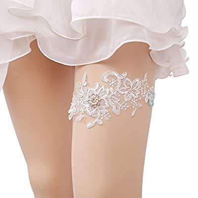Zoylink Bridal Garter, Wedding Garter Elastic Rhinestone Artificial Pearl Lace Garter for Wedding Prom Party by Zoylink