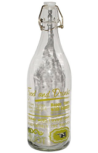 """Preisvergleich Produktbild """" Vintage & Retro - grün """" - große Flasche mit Bügelverschluß - Glasflasche - aus Glas - Bügelflasche - Bügelverschlußflaschen - Dekor / Amerika - buntes Design - Schnappverschluß / Bügelverschluß - Haushaltsware / Campinggeschirr - Glasgeschirr / Glasschale - Einmachflasche Likörflasche mit Bügel - Flaschen / Weinflasche"""