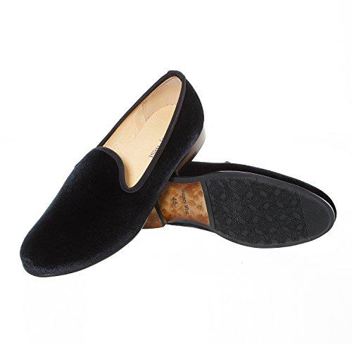 Veste en velours vintage Broderie Noble Flâneur Chaussures à enfiler Flâneur fumer Chaussons Noir/Rouge/Bleu Noir - noir