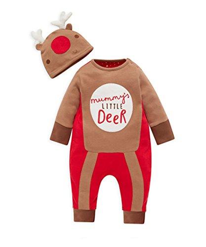 Baby Weihnachten Strampler Newborn Bodysuit-Kostüm-Ausstattungs-Hut 2pcs (0-6 Monate)