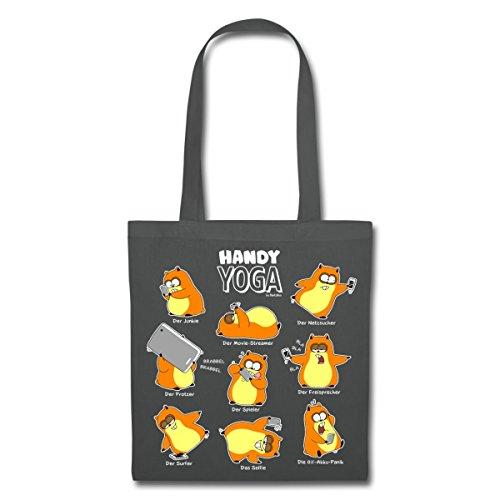 Hamster Handy Yoga Stoffbeutel von Spreadshirt® Graphite