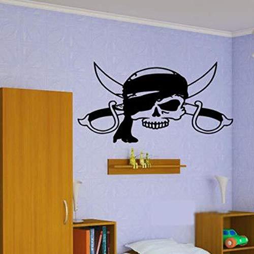 ld Pirate Logo Schädel und Schwerter Papier Abziehbilder Kinderzimmer Jungen Schlafzimmer Home Art Decor Vinyl 79 * 42 cm ()