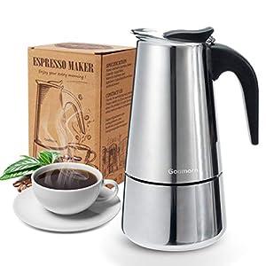 Espressokocher, Kaffeekocher, Godmorn Mokkakanne aus 430 Edelstahl, Espresso Maker für 4 Tassen (200 ml), Stovetop Coffee Maker Induktion Herde geeignet