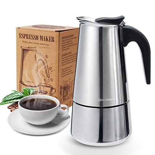 Godmorn Cafetera Italiana,Cafetera espressos en Acero inoxidable430,4tazas(Nota:1 Taza es 50ml),Conveniente para la Cocina de inducción,Cafetera Moka Clásica,Plata, Uso Doméstico y en la Oficina.