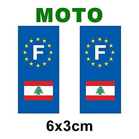 Autocollant plaque immatriculation drapeau liban Moto
