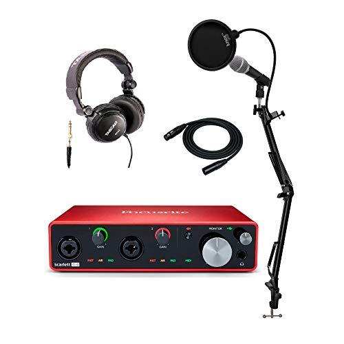 Focusrite Scarlett 4i4 3.Gen 4x4 USB Audio Interface Bundle mit Mikrofon, Kopfhörern, Knox Studio Ständer, XLR-Kabel und Popfilter (6 Stück) -