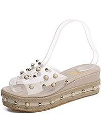 Las Mujeres de Verano Sandalias de Diapositivas Dedo del pie Abierto Slip-on Casual Cuñas