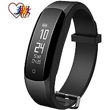 Mpow Activity Tracker IP67, Fitness Tracker Pedometro Cardiofrequenzimetro da Polso Orologio Bluetooth Smartwatch per Uomo Donna Bambini Bracciale Fitness Watch per iOS Android, Nero