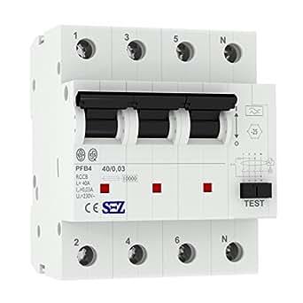 sez interrupteur diff rentiel 30 ma 40a 10ka 4p disjoncteur diff rentiel fi disjoncteur. Black Bedroom Furniture Sets. Home Design Ideas