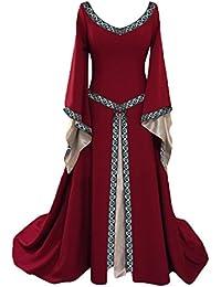 Ditshore Damen Langarm Mittelalter Kleid-Gothic Viktorianischen Königin Kostüm mit Schnürung,Jahrgang V-Ausschnitt- Prinzessin Renaissance Bodenlänge,Mehrfarbig