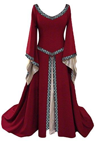 elalterliche Königin Kleid V-Kragen mit Trompetenärmel, Mittelalter Kostüm Langarm Maxikleid Party Kostüm Weinrot L (Renaissance Mittelalter Kostüme)