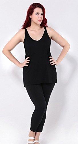 Smile YKK Femme Plus Size Débardeurs Uni Elastique Mode Slim Tops T-shirt Noir