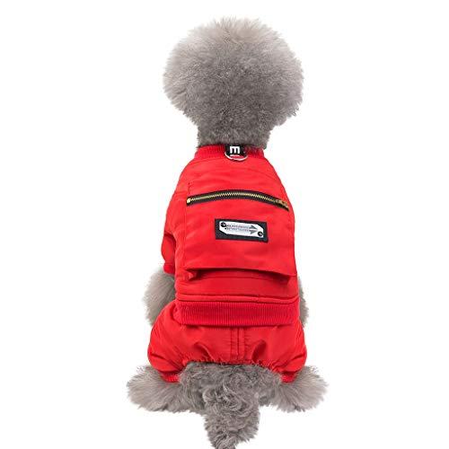 Fenverk Hundemantel Hund Hoodies Kleidung, Pet Puppy Katze Niedlicher Baumwoll Warm Coat Pullover Wintermantel Haustier Mantel Kleider(A rot,L)
