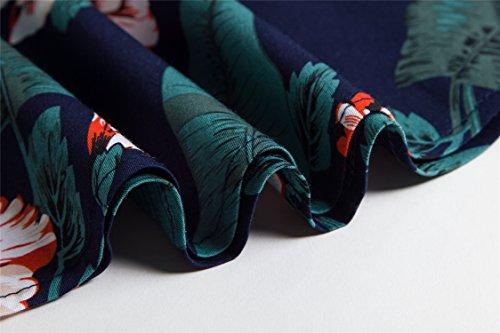 Angerella Robe 50s Retro Party Vintage Pique-nique Robes Sans Manches pour les Femmes Vert(floral)