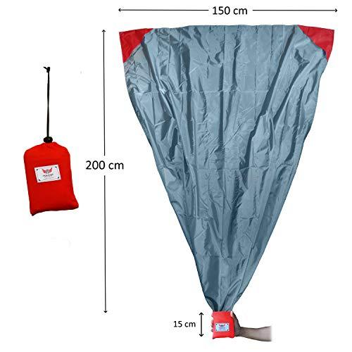 polaar XL Outdoor-, Picknickdecke und Stranddecke, Wasserdicht, Ultraleicht, 200 cm x 150 cm, in grau/rot, Kleines Packmaß - Ideal für Reisen und Camping (200 x 150 cm, rot/grau) (Gewicht Kinderwagen Geringes)