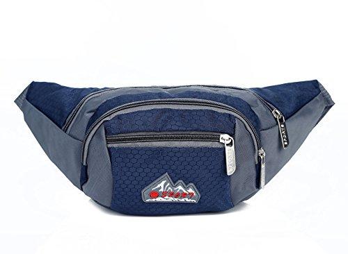 ZYT Nylon outdoor Sport Reisen kleine Taschen Brusttaschen Ranzen Tasche 10 Zoll für Männer und Frauen Blue