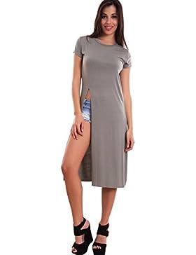 Toocool - Maglia donna lunga maglietta spacco top basic mezze maniche sexy nuova CJ-2211