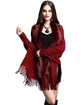 NiSeng Donna corto poncho con nappa decorazione per inverno cardigan di pelliccia sintetica