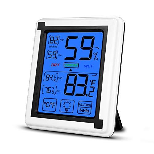 Opard innenthermometer Hygrometer digitales Thermometer Raumthermometer Temperatur und luftfeuchtigkeitsmessgerät mit Hintergrundbeleuchtung (Weiß)