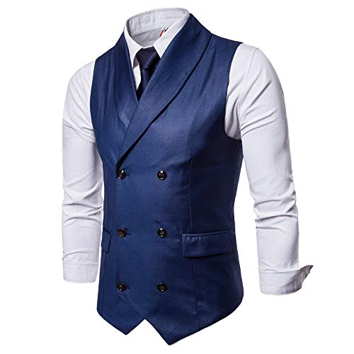 BMEIG Chaleco Casual para Hombre - Sin Mangas Blazers de Boda Business Cuello en V Slim Fit Vintage Tweed Single Breasted Formal Top
