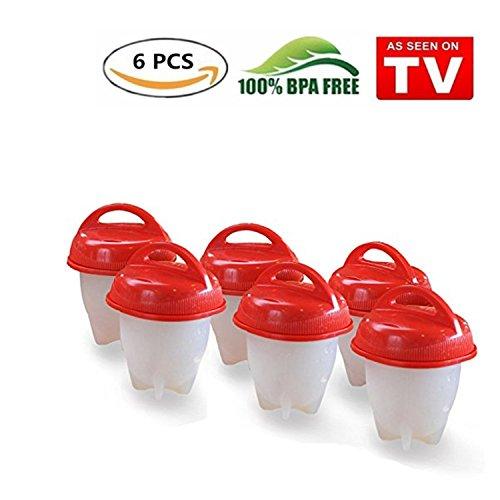 Egglettes, Eggies Egg Cooker, Sin BPA, silicona antiadherente, huevos, Tostada, vaporera, como visto en TV (Rojo, 6)