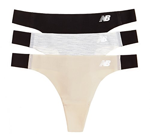 New Balance Damen Laser Tanga Panty 3er Pack M Black/Concrete Grey Space Dye/Nude (Nahtlose Passform Thong)