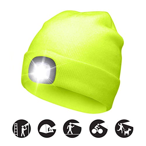 POEO Bright LED-beleuchtete Beanie-Kappe Wiederaufladbarer Unisex,Grün