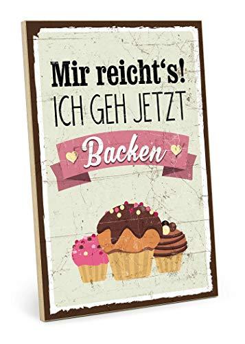 TypeStoff Holztafel mit Spruch - BACKEN - Küchenbild im Vintage-Look als Geschenk und Deko zum Thema Einzug Geschenk