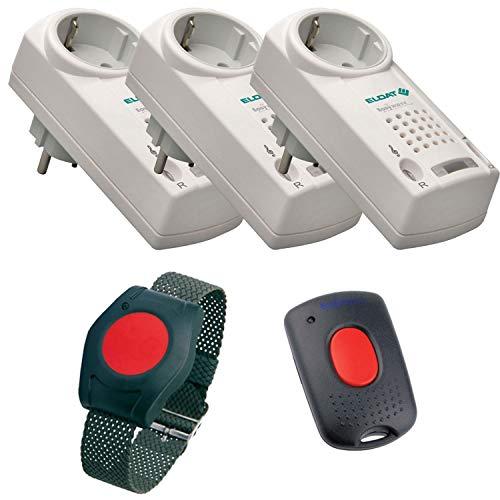 ELDAT Sicherheitspaket 8, Hausnotruf mit Funk-Notruf-Armband und 3 Empfängern mit Quittierungs-Funktion u. -Sender