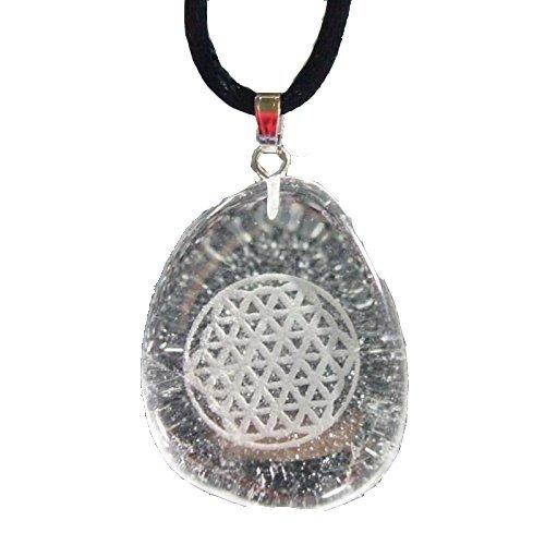 Energie-Amulett Bergkristall mit Blume des Lebens u. Band Länge 45 cm, Geschenk, Schmuck, Feng Shui