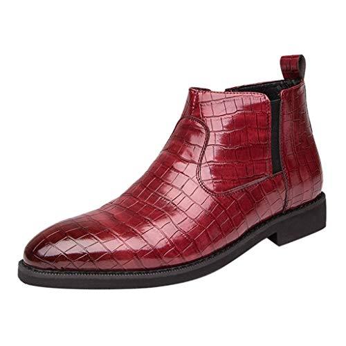 FNKDOR Schuhe Herren Spitz Krokodil-Muster Reißverschluss Lederschuhe Chelsea Lederstiefel High-top Business-Schuhe Jugend Elegant Anzugschuhe Slip-on Berufsschuhe Rot 38 EU -