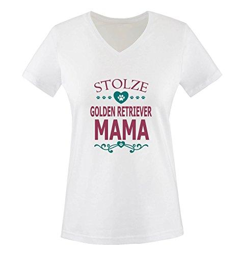Comedy Shirts - Stolze Golden Retriever Mama - HERZ - Damen V-Neck T-Shirt - Weiss / Fuchsia-Türkis Gr. S (Golden Retriever Fleece)
