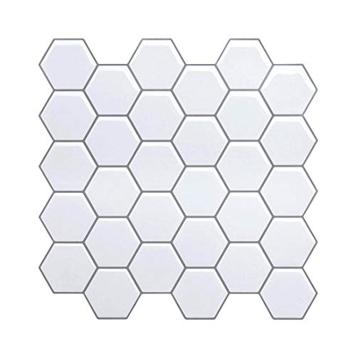 "Tile Stickers, Peel and Stick Tiles Backsplash, Marble Hexagon Mosaic Tile for Kitchen/Bathroom, Faux Ceramic Tile Design White-10.5"" x 10.5"" (4 sheets)"