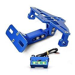 Universal Motorrad Kennzeichenhalter Mit LED-Licht Für Yamaha MT-01 MT-03 MT-07 MT-09 MT-10 TMAX 530 TMAX 500 S1000RR S1000R S1000XR F800GS F650GS F700GS K800GS-Blau