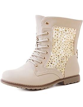 Marimo24 Damen #Trendboot Stiefel Stiefeletten Worker Boots mit Spitze in hochwertiger Lederoptik Übergrößen bis 43