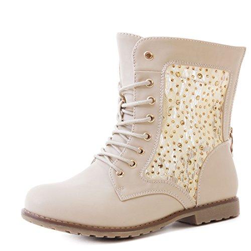 Marimo24#Trendboot Damen Glitzer Stiefeletten Schnür Boots mit Strass in Hochwertiger Lederoptik Beige 43